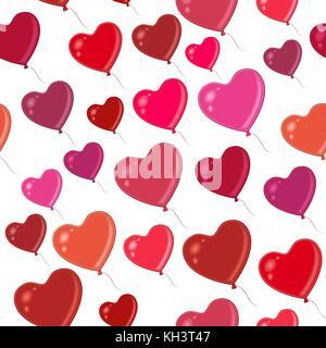 Heart Balloons, Seamless Background - Stock Photo