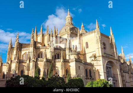 The imposing cathedral of Segovia in Spain - Stock Photo