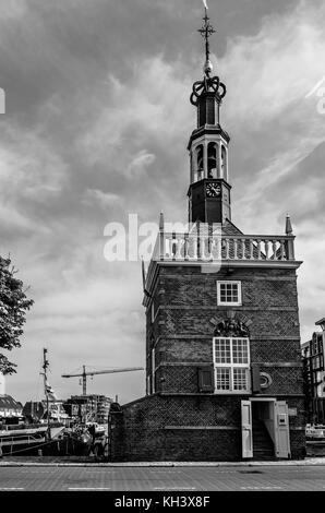 ALKMAAR, THE NETHERLANDS - AUGUST 25, 2013: View of Accijnstoren tower, built in 1622 in the harbor of Alkmaar, - Stock Photo