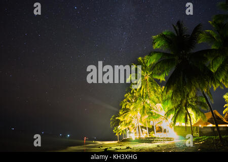 Night Sky Stars over beach with house and palm trees - Stock Photo