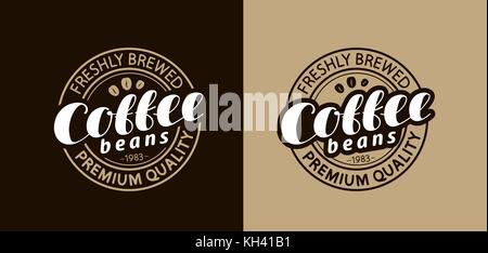 Coffee stamp or emblem. Freshly brewed beans. Vector illustration - Stock Photo