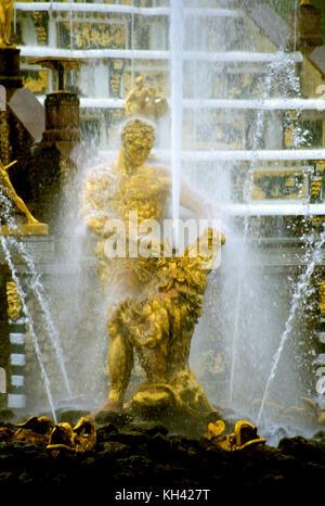 Samson fountain in Petergof Palace near St. Petersburg, Russia - Stock Photo