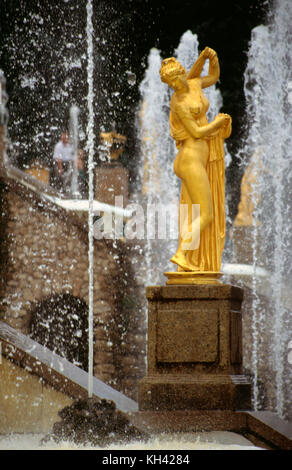Statue, part of the ensemble of Grand Cascade in Petergof Palace near St. Petersburg, Russia - Stock Photo