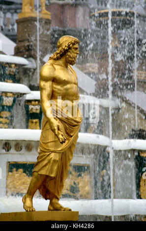 Statue, part of Grand Cascade fountain ensemble in Petergof Palace near St. Petersburg, Russia - Stock Photo