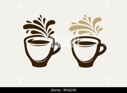 Cafe, coffeehouse logo or emblem. Cup of coffee, espresso, tea, hot drink symbol. Vector illustration - Stock Photo