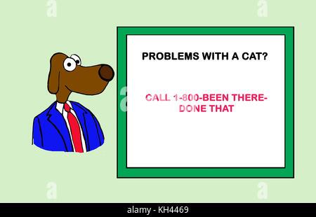 Cartoon illustration of a dog offering cat advice. - Stock Photo