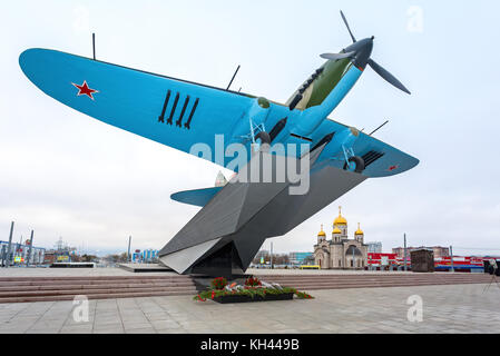 Samara, Russia - November 12, 2017: Monument to low-flying attack airplane 'Ilyushin 2' of the Second World War - Stock Photo