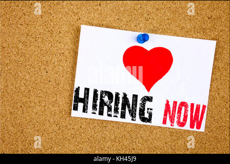 A writing text showing concept of We Are Hiring made on sticky note handwritten letters words for Recruitment and - Stock Photo
