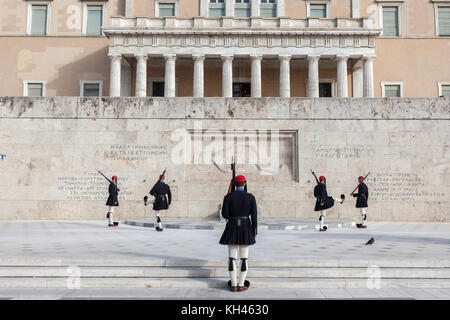 ATHENS, GREECE - NOVEMBER 3, 2017: Greek presidential guard, Evzones, parading in front of the Greek parliament - Stock Photo