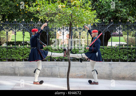 ATHENS, GREECE - NOVEMBER 3, 2017: Greek presidential guard, Evzones, parading in front of the Greek Presidential - Stock Photo
