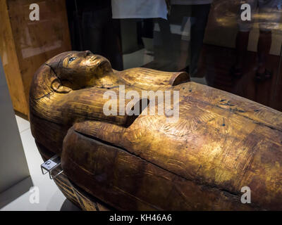 Exhibits in the world Famous Egyptian Museum in Turin the largest Egyptian collection outside Cairo Museum - Stock Photo