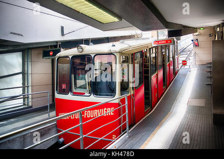 Red Lyon Funicular F2 Car at the Saint-Jean Station, Lyon France - Stock Photo