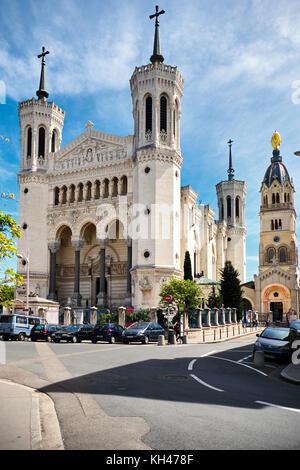 Low Angle View of the Basilica of Notre-Dame de Fourvière, Lyon, France - Stock Photo