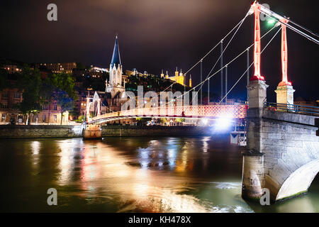 St George's Footbridge Over the Saone River at Night with Old Lyon,Auvergne-Rhône-Alpes, France - Stock Photo