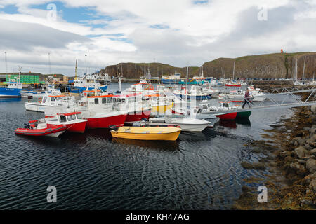 Small Boats in Stykkishólmur Harbour, Snaefellsness Peninsula, Iceland - Stock Photo