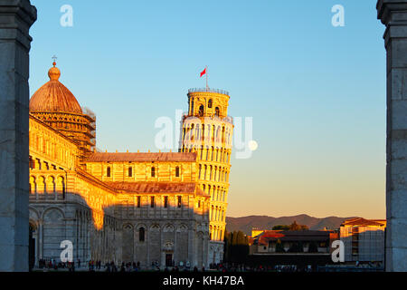 Low Angle View of the Church of Pisa with the Leaning Tower, Tusacny, Italy - Stock Photo