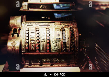 Close Up View of and Old Cash Register - Stock Photo