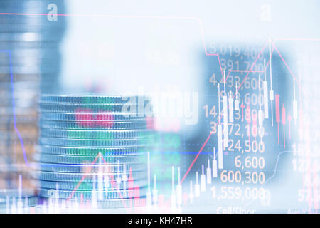 Double exposure of stacks of coins and credit card with candle stick graph chart, indicator, price of stock market - Stock Photo