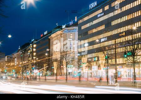 Helsinki, Finland - December 7, 2016: Night View Of Traffic Light Trails In Mannerheim Avenue Street In Evening - Stock Photo