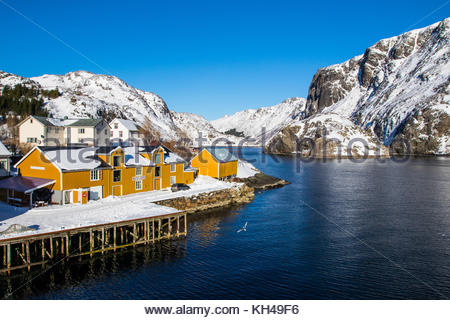 nusfjord, nusfjorden, flagstadøya, lofoten, nordland, norway, march 2017 - Stock Photo