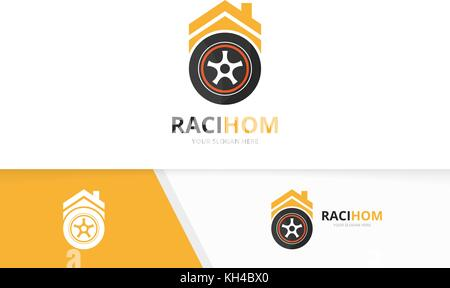 Vector wheel and real estate logo combination. Tire and house symbol or icon. Unique tyre and rent logotype design - Stock Photo