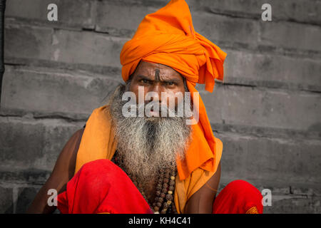 Varanasi sadhu man in close up portrait view - Stock Photo