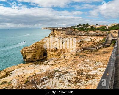 Algar Seco Cliff Walk, Carvoeiro in southern Portugal - Stock Photo