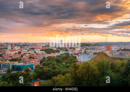Vilnius, Lithuania. Old Town Historic Center Cityscape Under Dramatic Sky In Summer Sunset. Destination Scenic. - Stock Photo