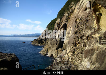 Devil's Castle (Onigajo) in Kumano, Mie Prefecture, Japan - Stock Photo