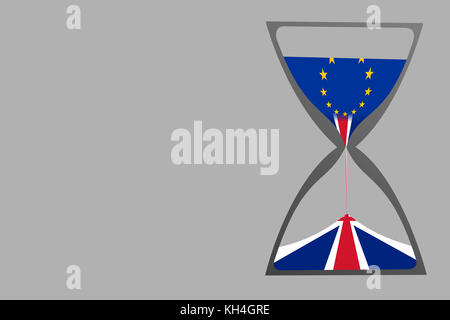 A concept of Brexit as shown by an illustration of an hourglass with European Union flag as the top sand and the - Stock Photo