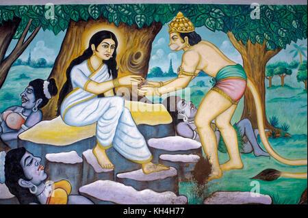 hanuman and sita painting on wall of anjaneya temple, karnataka, India, Asia - Stock Photo