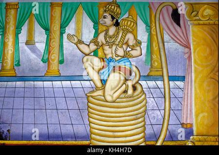 hanuman painting on wall of anjaneya temple, karnataka, India, Asia - Stock Photo