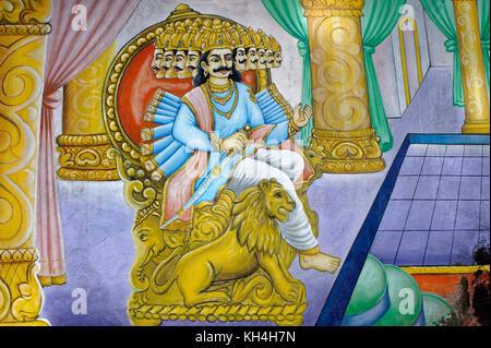 Ravana painting on walls of Anjaneya Temple , Karnataka , India , Asia - Stock Photo