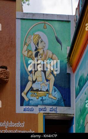 hanuman and followers painting on wall of anjaneya temple, karnataka, India, Asia - Stock Photo