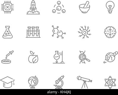 Set of vector science and research line icons. Chip, rocket, atom, ion, lamp, tube, bulb, neuron, brain, dna, molecule, - Stock Photo