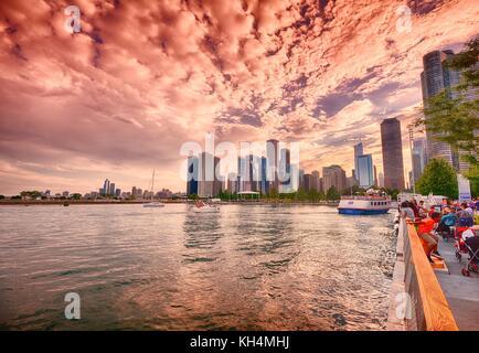 Chicago, Illinois - July 15, 2017: Beautiful Chicago Skyline. Cityscape image of Chicago skyline during sunset. - Stock Photo