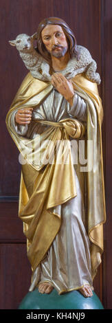 LONDON, GREAT BRITAIN - SEPTEMBER 17, 2017: The carved polychrome statue of Good Shepherd in church St. Marys Pimlico - Stock Photo