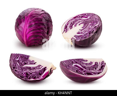 Set red cabbage cut in half and quarters isolated on white background. Clipping Path. - Stock Photo