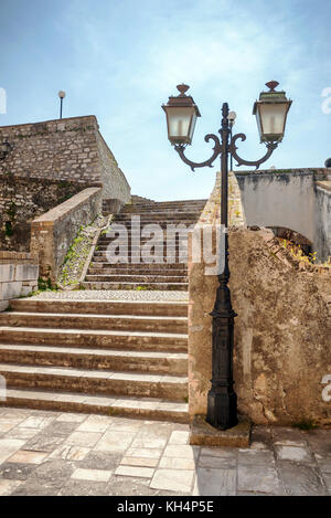 stairs inside the old fort of Corfu city in Greece - Stock Photo