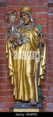 LONDON, GREAT BRITAIN - SEPTEMBER 17, 2017: The carved polychrome statue of St. Joseph in church St. Marys Pimlicofrom - Stock Photo