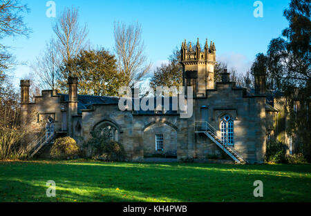 Scottish baronial style Victorian stable block with ornate tower, Vogrie  Country Park, Midlothian, Scotland, UK, - Stock Photo