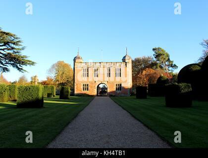 The gatehouse at Charlecote Park Manor. - Stock Photo