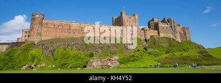 Bamburgh Castle Northumberland north east England UK panoramic view medieval fortress Stock Photo