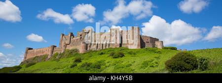 Bamburgh Castle Northumberland England UK panoramic view Stock Photo