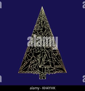 Christmas tree vector illustration. Hand drawn New Year decoration in modern style. Abstract winter holidays Xmas - Stock Photo