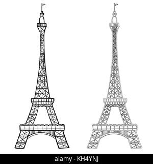 Illustration of Eiffel Tower with two styles, Hand drawing of Eifel Tower. Simple sketch style. Black contour isolated - Stock Photo