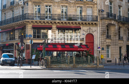 Paris, France -- November 7, 2017 -- A classic French cafe on the Left Bank on a clear Autumn morning.  Editorial - Stock Photo