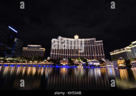 LAS VEGAS, NEVADA - JULY 25: Bellagio hotel and casino on July 25 2017 in Las Vegas. Bellagio is a luxury hotel - Stock Photo