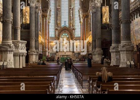 Lyon, France -- November 6, 2017 -- A photograph taken inside the Bassilica of Notre-Dame de Fourviere. Editorial - Stock Photo