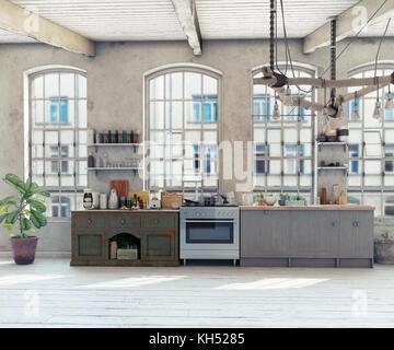 Attic loft kitchen interior. 3d rendering concept - Stock Photo